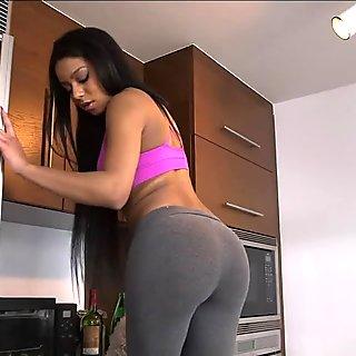 Lesbian black babes intense dildo sex