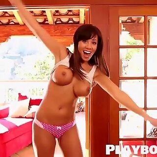 Sexy beautiful brunette MILF shows her nice big boobs
