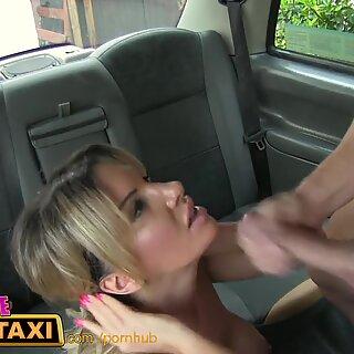 FemaleFakeTaxi Blonde cab driver loves cock