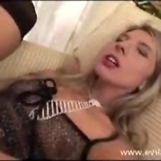 Horny lesbian Janet Alfano enjoys a thick toy thumping in and out her tight ass