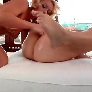 Wet blonde sister fisted in her lubed up pussy