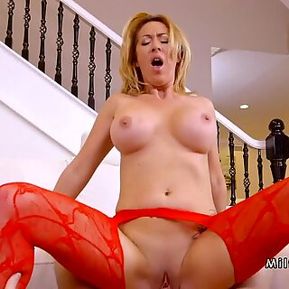 Busty Milf in red stockings banging