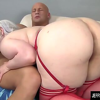 Hot blonde plumper takes on big cock