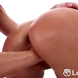 Blonde chick gets shaved cunt fisted by lesbian