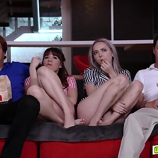 Teens sucking their pops matured cock on movie night
