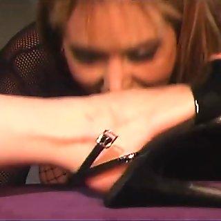 Blondie offering herself to her mistress