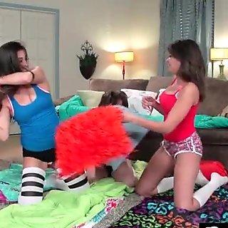 Sexy busty lesbians share big dildo 13