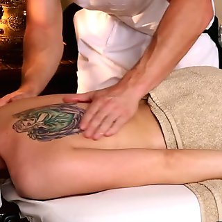 Natural busty blonde gets tits massaged