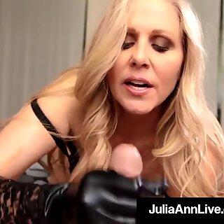 Årets eldre kvinne Julia Ann dons mørkebrun hansker å melk a kuk!