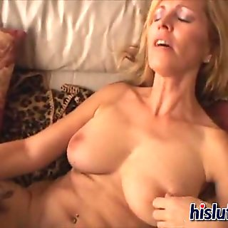 Two busty milfs dildo each other