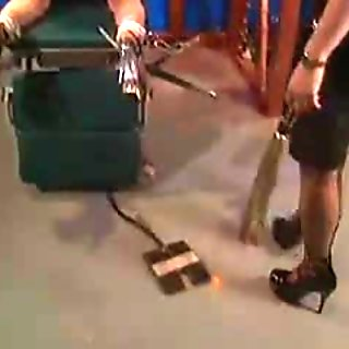 Redhead gets pussy whipped and clamped