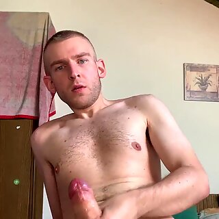 Huge russian cock cumshot on the hairy body and after shake it his huge cock