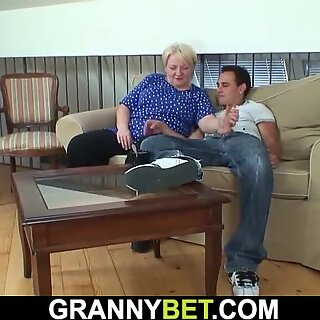 Old granny pleases young dude