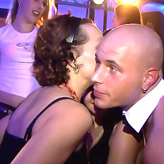 Euro babes getting wet and dancing with naked strippers in a club