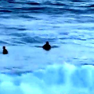 Amateur Aussie lesbian couple outdoors by ocean