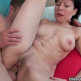 Grandma loves a warm cum load on her old body